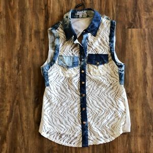 NWT lace and denim top
